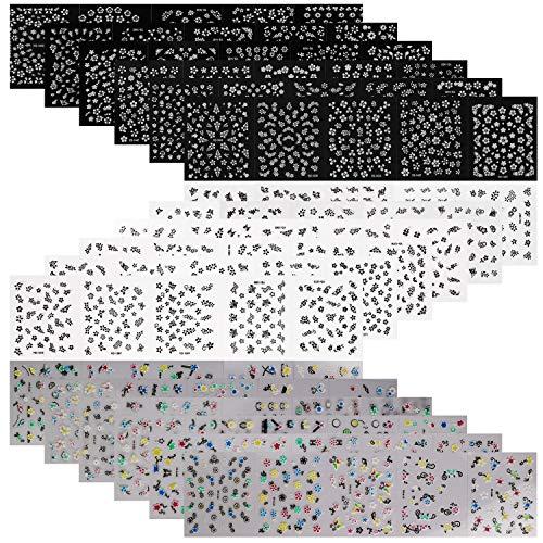 2500+Entwürfe (90 Blätter) Nagel Blumen Aufkleber,Mwoot Weiß Schwarz Bunt Blumen 3D Nagel Sticker Selbstklebende Aufkleber Nail Art Decals Set für Frau Nagel Maniküre Dekoration