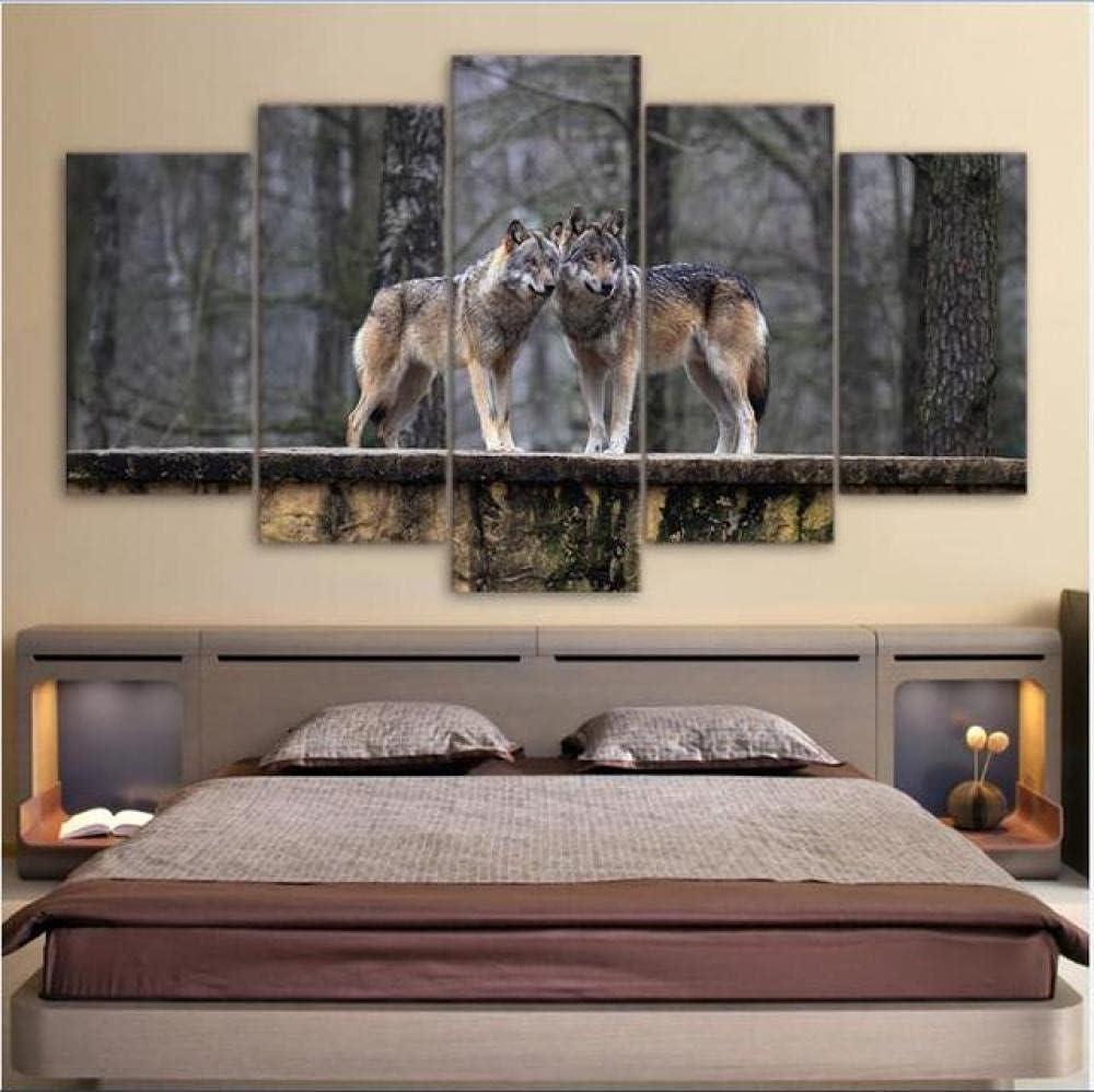 ZHONGZHONG 5 Piece Large Canvas Max 68% OFF Wall Couple Washington Mall Animal Pict Art Wolf