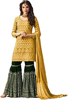RJ FASHION women gerogette embroidered Sharara Plazzo Salwar Suit semi-stitched material