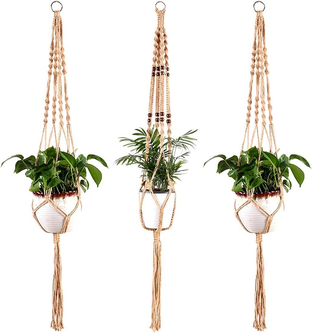 YFJJFY Set of 3 Boho Hanging Today's only Planters Ranking TOP20 Plan Durable Jute Handmade