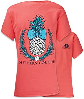 Southern Couture SC Classic Pineapple Womens Classic Fit T-Shirt - Coral Silk