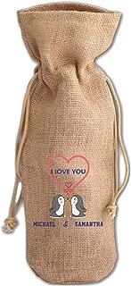Custom love you Two Penguins Jute Burlap Burlap Wine Drawstring Bag Wine Sack