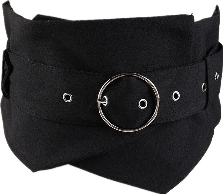 Women's Belt Waist Wide Belt Decoration Shirts Casual Dress Black color,