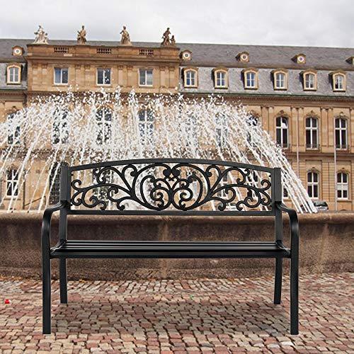 Banco de hierro de 127 cm para decoración de patio al aire libre