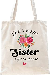 Ihopes Best Sister Quotes Reusable Tote Bag Gift for Sisters Best Friends   Floral Sister 100% Natural Cotton Tote Bag Bes...