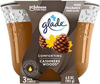 Glade Candle Cashmere Woods, Fragrance Candle Infused with Essential Oils, Air Freshener Candle, 3-Wick Candle, 6.8 Oz