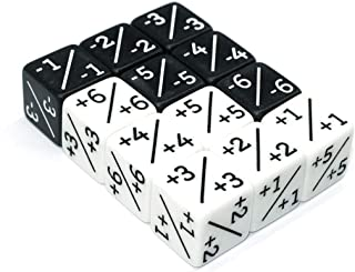 HD Dice Counters-6X White +1/+1 & 6X Black -1/-1 D6 Dice for CCG,MTG,Magic The Gathering,Card Gaming,Token & Loyalty Dice