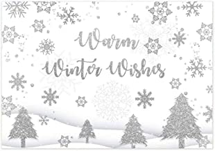 Allenjoy 7x5ft Warm Winter Wishes Christmas Photography Backdrop Gliter Silver Snowflake Tree Scenery Xmas Eve Party Decorations Background