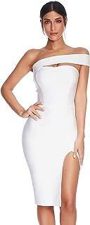 Womens Bodycon Bandage Dress Vestidos One Shoulder Midi Celebrity Party Dresses