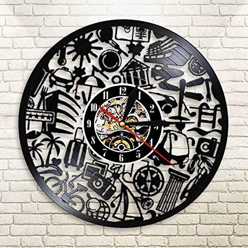 BFMBCHDJ Tourismus Reise Vinyl Schallplatte Wanduhr Reisethema Vintage Schwarz Hängende Wanduhr Personalisierte Schallplatte Licht Reloj Pared Mit LED 12 Zoll