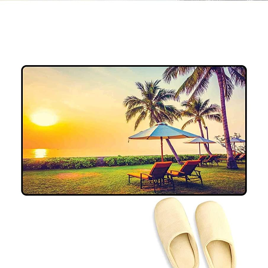 Door-mat Empty Umbrella and Chairs on The Beach Palm Trees at Twilight Times Vacation Theme Bath Mats for Floors Multicolor 24