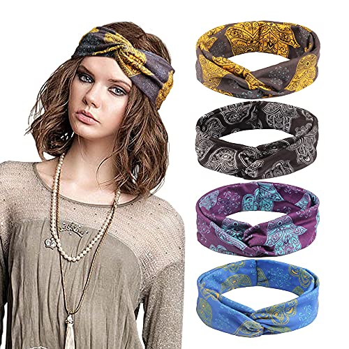 Kavya 4 Stück Boho Stirnband elastische mehrfarbige Stirnbänder Kopfband Damen Haarspange Haarband Headband Blume Mustern gedruckt Sportliche