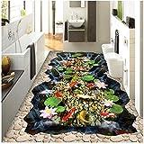 Xbwy 装飾壁画 カスタム3D立体壁画絵画床壁紙鯉蓮の滝3D Hd写真壁紙壁画浴室-150X120Cm