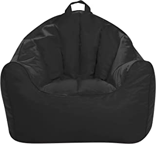 Posh Creations Structured Comfy Bean Bag Chair for Gaming, Reading, and Watching TV, Malibu Lounge, Soft Nylon-Black