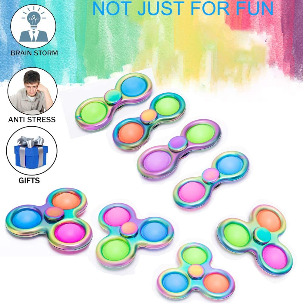 Anti-Anxiety Fidget Spinner Rotatable Alloy Toy for Kid and Adult Relieving Stress Boredom Mojolalawu Fidget Toy with Push Pop Sensory Toy