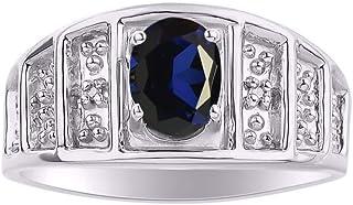 RYLOS Anillo de piedra natal con piedra preciosa ovalada y diamantes genuinos en plata de ley 925-7X5MM anillos de piedra ...
