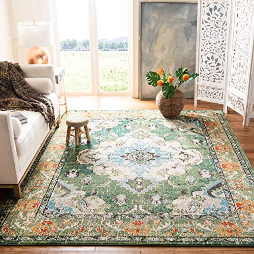 "Safavieh Monaco Collection MNC243F Vintage Oriental Forest Green and Light Blue Distressed Area Rug (5'1"" x 7'7"")"