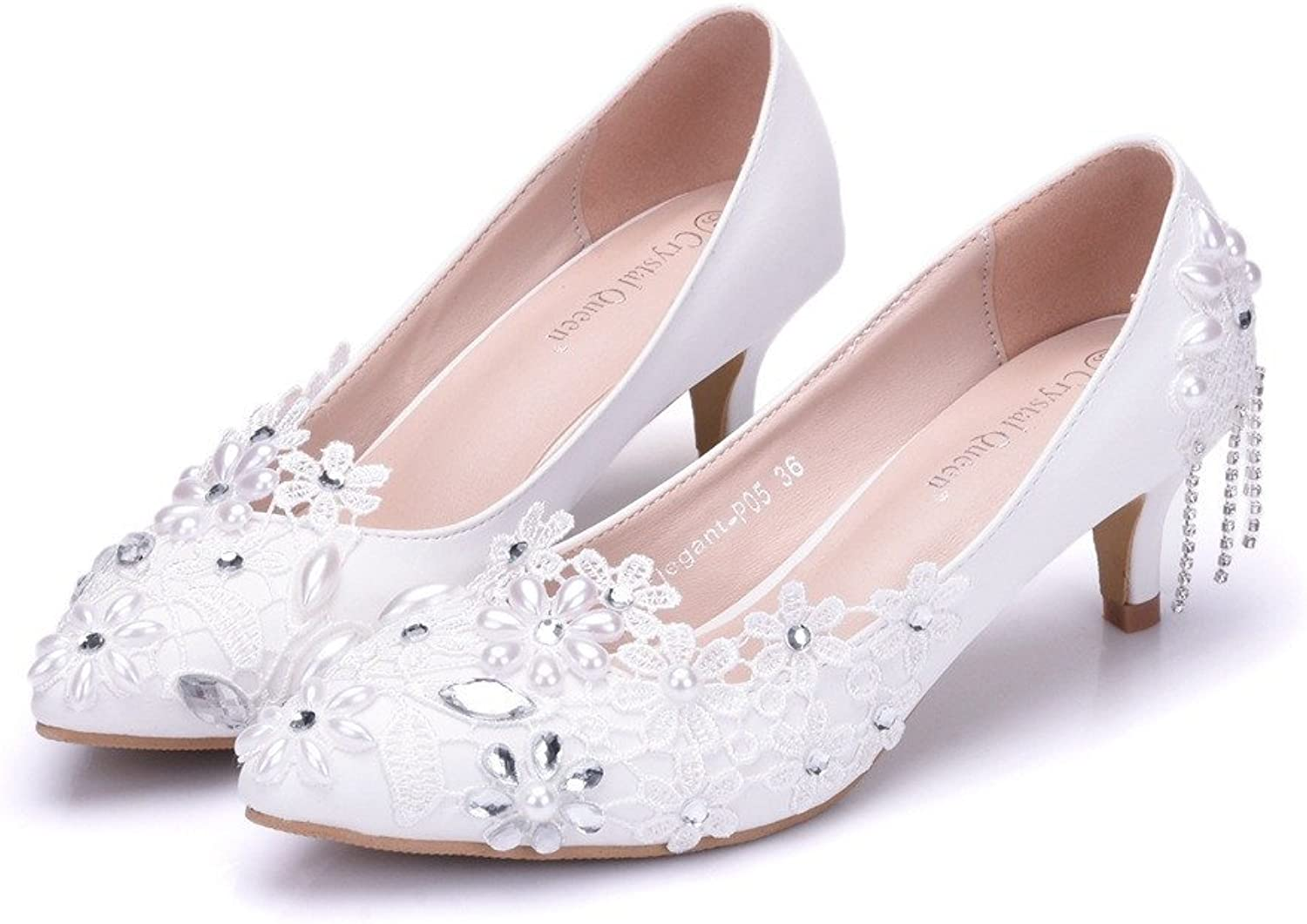 HYP Wedding Women shoes Wedding shoes Women Pumps Closed Toe Wedding Party Court shoes Bridesmaid Bridal shoes Crystal tip Single shoes