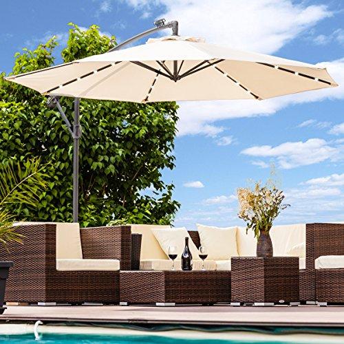 Swing&Harmonie Luxus Sonnenschirm mit LED Beleuchtung Ampelschirm 300 cm Solar Garten Schirm Pavillon (Creme)