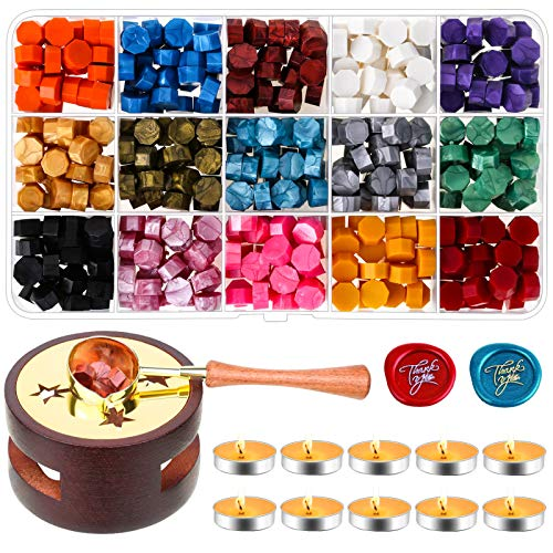 Wax Seal Stamp Kit, Caffox 462pcs Sealing Wax Kit with Wax Stamp Beads, Wax Seal Warmer, Wax Spoon and Tealight Candles for Craft, Letter Sealing and Envelope Stamp