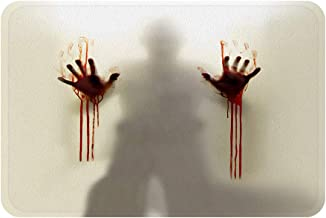 Help Me Scary Bloody Hands Bath Rugs, Funny Bath Mat with Non Slip Backing (White)