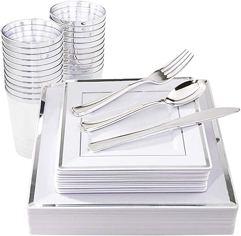IOOOOO 150 Pieces Silver Square Plates Disposable Silverware Plastic Cups Silver Plastic Dinnerware Include 25 Dinner Plates 25 Dessert Plates 25 Forks 25 Knives 25 Spoons 25 Tumblers