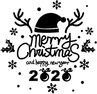 Vansee Wall Sticker, Letters 2020 Antler Christmas Hat PVC Sticker Wall Stickers Living Room Decoration