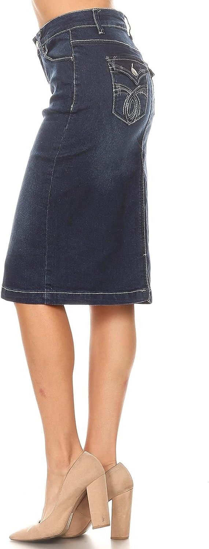 Fashion2Love Women's Juniors/Plus Size Mid - Length Pencil Stretch Denim Skirt (77104)