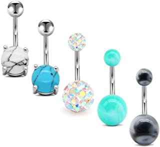 Belly Button Rings 14G Surgical Stainless Steel Belly Rings for Women Turquoise Marble..