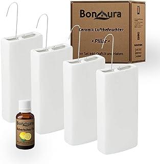 BonAura® PILLAR luchtbevochtiger verwarmingsset van keramiek - 4 stuks radiator verdamper met haak - waterverdamper vierka...