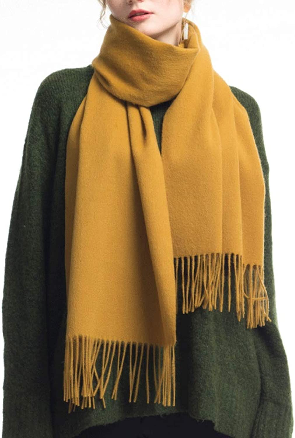 CCF Scarf Winter Thicken Soft Elegant Classic Scarves Woman Shawl V (color   Turmeric)