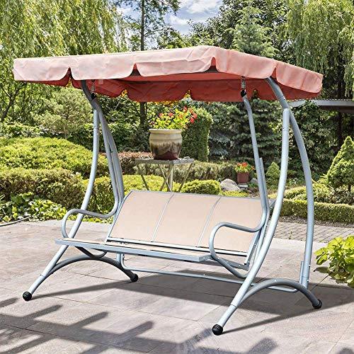 xiegons0 Swing Funda de Asiento, Impermeable Hamaca Funda Exterior Swing Toldo Recambio Protegido Sol Cubierta Superior para Parque Asiento Patio Yarda Verde - Café, 142 * 120 * 18cm