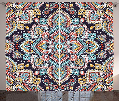 """Ambesonne Ethnic Curtains, Bohemian Style Motif Vintage Oriental Inspired Traditional Art, Living Room Bedroom Window Drapes 2 Panel Set, 108"""" X 96"""", Navy Teal"""