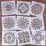 Plantilla reutilizable Mandala de 9 (6 x 6 pulgadas) para pintar plantillas, plantilla de pintura cortada con láser para bricolaje, decoración de bricolaje, pintura en madera, rocas y paredes arte