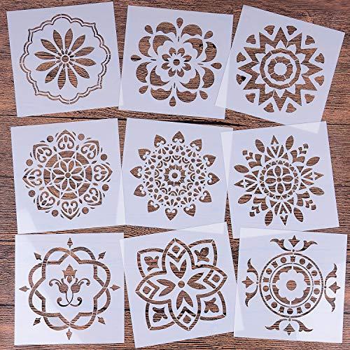 9 Stück Mandala Schablonen-Set - Wiederverwendbar Laserschnitt Malschablone/Airbrush Vorlage für DIY Dekor, Malen auf Holz, Felsen und Wände Kunst, 15 x 15 cm