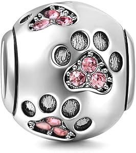 925 Sterling Silver Dog Charm Paw Charm Pet Charm Animal Charm Anniversary Charm Christmas Charm for Pandora Charms Bracelet (Pink)