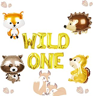 LaVenty Set of 5 Wild One Balloons Woodland Party Supplies Animal Birthday Balloons Woodland Animals Banner Forest Animal ...