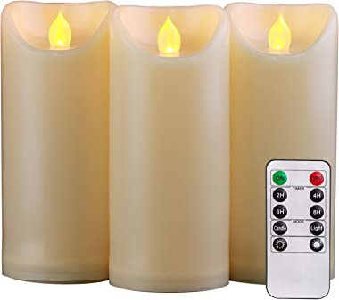 """Homemory 3PCS 7"""" 7"""" 7"""" Waterproof Flameless Candles with Timer and Remote Control, Outdoor Battery Operated Flickering LED Ca"""