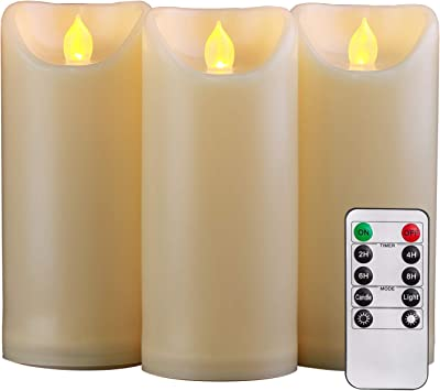 """Homemory 3PCS 7"""" 7"""" 7"""" Waterproof Flameless Candles with Timer and Remote Control, Outdoor Battery Operated Flickering LED Candles, Ivory, Set of 3"""