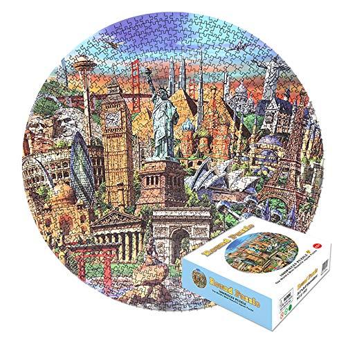 Puzzle 1000 Teile, Puzzle für Erwachsene und Kinder, Runde Puzzle, Geschicklichkeitsspiel für die ganze Familie, Erwachsenenpuzzle ab 12 Jahren(Schloss)