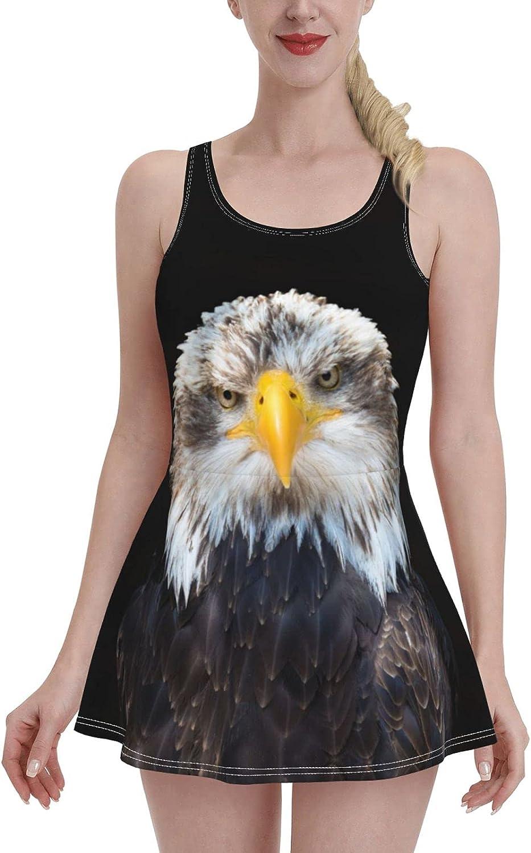 Bald Eagle Bird On Black Swimdress Swimsuits for Women Tummy Control 1 One Piece Sw