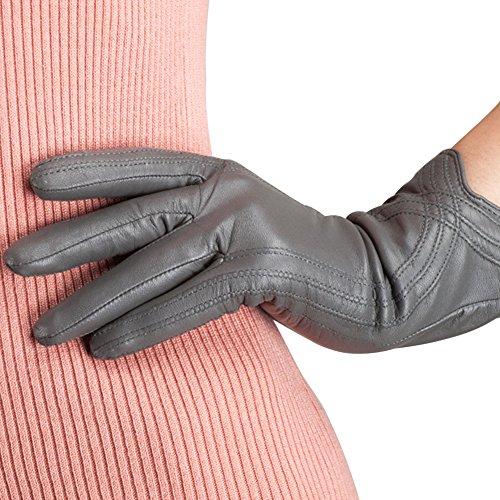 Nappaglo Damen Lederhandschuhe Winter Touchscreen Lammfell Elegant Echtleder Warm Handschuhe Outdoor, grau, M
