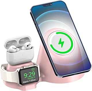 MagSafe充電器スタンド 3in1 磁気無線充電器スタンド、iPhone 12 Pro Max、12 Mini、12 Pro、Apple Watch、AirPods Pro、Airpod 1/2に適用されるApple MagSafe充電器と...