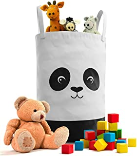 Fawn Hill Co Panda Laundry Hamper Basket for Baby Nursery or Toddler Room   Collapsable Storage Tote Organizer with Durable Handles for Clothes, Kids Toys, Dirty Laundry   Modern Decor (Black & White)