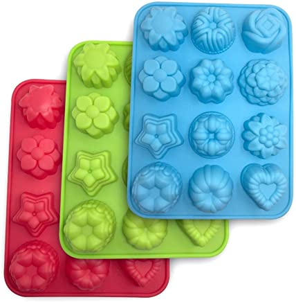 3 Packs Flowers Silicone non-Stick Mold, SourceTon Bake Mold for Cake, Jelly