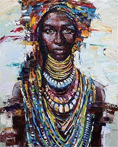 LSDEERE Malen nach Zahlen Kits für Erwachsene und Kinder Afrikanische Frau in traditioneller Kleidung mit Pinsel und Acrylpigment DIY Digitale Leinwand Malerei für Erwachsene Anfänger-16X20 Zoll