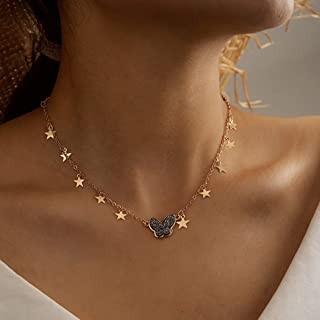 Acedre Butterfly Choker Necklace Gold Star Necklaces Jewelry Crystal Necklace Chain for Women and Girls
