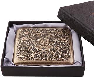 Chutoral, portasigarette retrò, in acciaio inox nichelatura, portasigarette in metallo per 20 sigarette (oro 7)