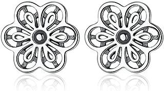 Floral Daisy Lace Flower Stud Earrings for Women Wedding Fine Jewelry 925 Sterling Silver