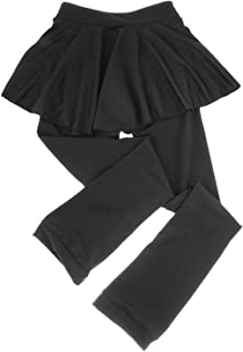 N/A, #N/A/a Calcetines de patinaje sobre hielo pantalones de patinaje de estiramiento alto con falda corta para adultos y niños - XL